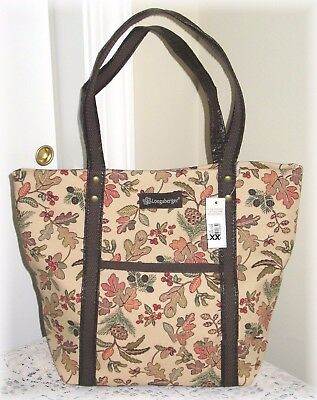 Longaberger Autumn Path Double Handle Tote Bag Fall Leaves New With Tag