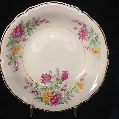 "Edwin Knowles Usa Kno203 Soup Bowl 7 3/4"" Pink & Yellow Floral Gold Trim"