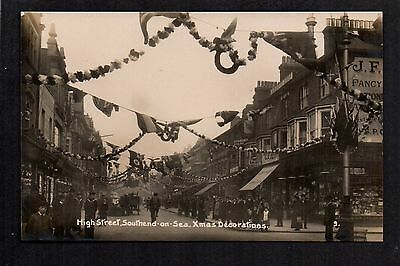 Southend on Sea - High Street, Xmas Decorations - real photographic postcard