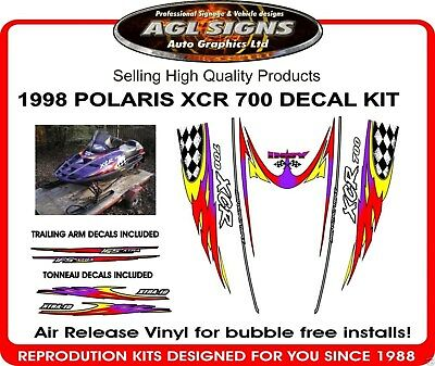 1998 POLARIS INDY XCR 700 HOOD DECALS with trailing arms and tonneau graphics