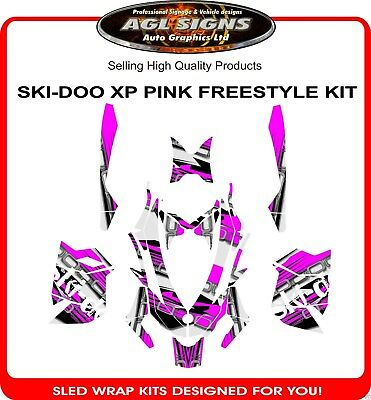 SKI-DOO XP SLED WRAP   DECAL GRAPHIC  PINK FREESTYLE rev mxz, summit, 2008-12