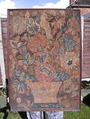 Antique 18th century needlework embroidery picture vase of flowers with bird
