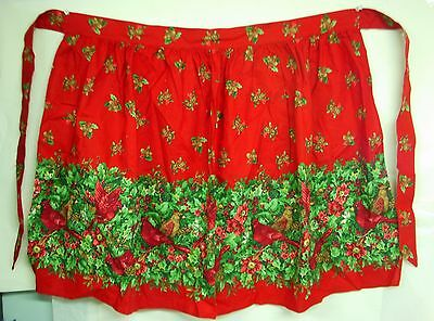 RED HALF APRON w/ CARDINALS & HOLLY Border Cheerful Winter Christmas Parties!