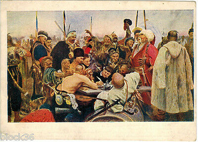 1936 Russian card Zaporozhye Cossacks Write Letter to Turkish Sultan by I.Repin