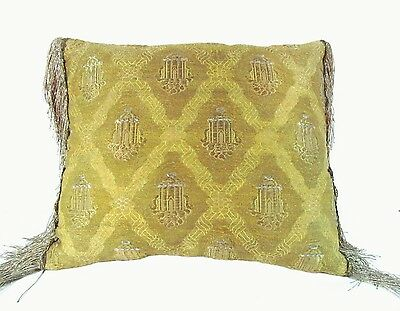 Mat of Gold, Algerian, 19th Century with Raised Silver Thread Arbors Pillow