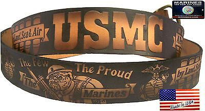 Belt Marine Corps Bulldog USMC Leather Cowhide Brown Embossed USA Made MLS906