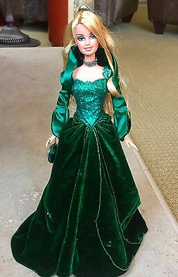 Holiday 2004 Barbie Doll green dress display stand