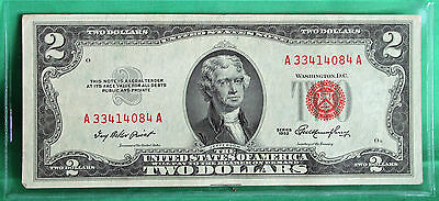 1953 $2 Two Dollar Currency Paper Money Red Seal #A33414084A Average Circulated