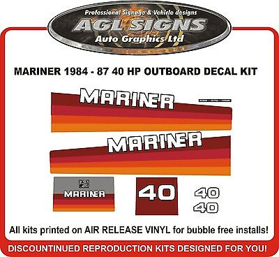 1984 1985 1986 1987 Mercury Mariner 40 hp Outboard Decal Kit  reproductions