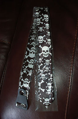 BLACK & WHITE SATIN SKINNY SKULL & CROSSBONES TIE - emo, punk, goth - NEW
