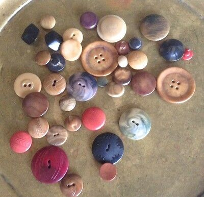 37 Vintage Vegetable Ivory Buttons, Mostly Neutrals, Shank, 2 Hole, 4 Hole