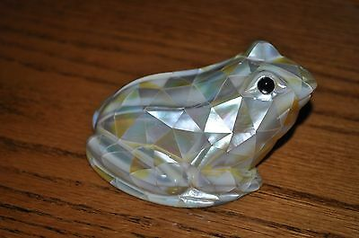 rare mother of pearl frog carving from old estate collection retired jeweler