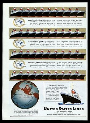 1947 SS S.S. America ship fleet art United States Lines travel print ad 4