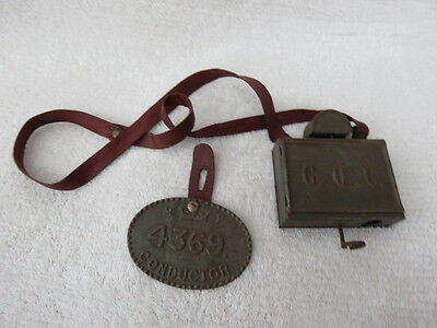 Vintage Child's Tinplate Bus Conductors Ticket Machine And Badge
