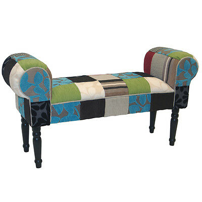 PLUSH PATCHWORK - Shabby Chic Chaise Pouffe Stool / Wood Legs - OCH4000
