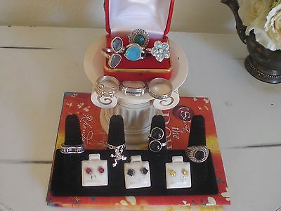 Vintage to Now 925 Sterling Silver Lot Jewelelry Rings and Earrings. Black Onyx