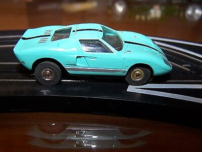 Aurora ThunderJet 500 FORD GT HO Scale Slot Car Turquoise Excellent running