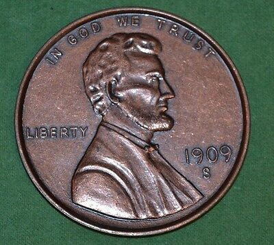 Vintage Big Giant Novelty 1909 Wheat Penny Lincoln One Cent Currency Coin Rare