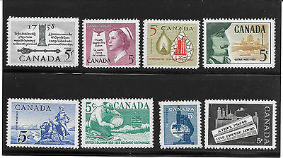 CANADA 1958 YEAR SET of 8 STAMPS # 375 to 382