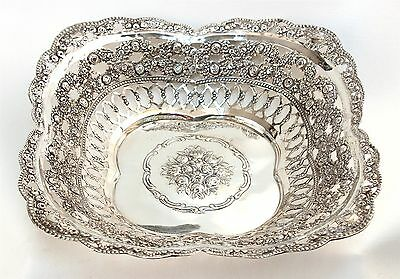 Hazorfim 800 Silver Rose Decorated Reticulated Bowl