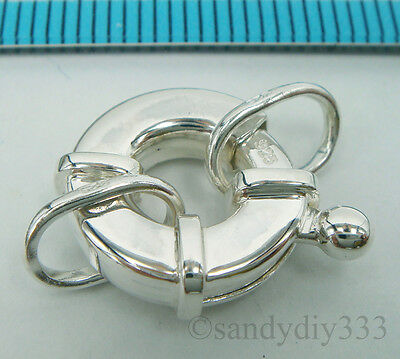 1x BRIGHT STERLING SILVER ROUND JUMBO SPRING LOBSTER CLASP 13.5mm #2078