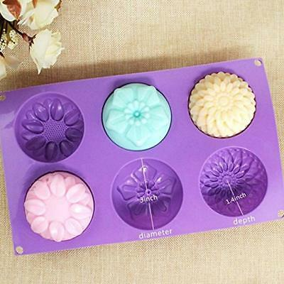 6 Cavity Silicone Flower Soap Mold Muffin Cupcake Baking Pan Rose Sunflower - S
