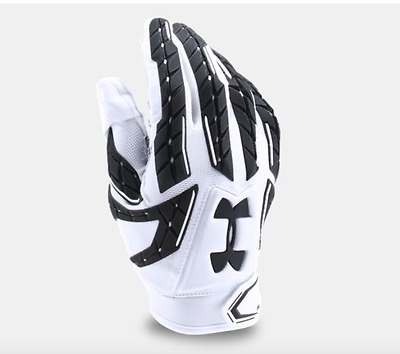 New Under Armour Mens White Fierce Football Gloves Size Small, Medium, or Large