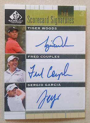 2012 SP GAME USED Autograph TIGER WOODS / COUPLES / SERGIO GARCIA Auto # 9 / 9