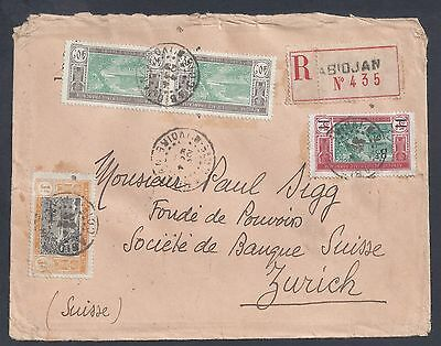 1929 Ivory Coast Registered Cover - Abidjan to Zurich, Switzerland