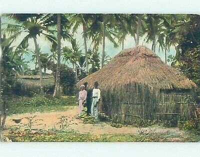 1909 postcard PEOPLE AT STRAW HUT state of Puerto Rico HM7882
