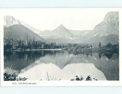 Pre-1950 rppc TWO MEDICINE LAKE AT GLACIER NATIONAL PARK near Browning MT HM3578