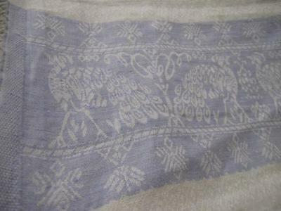 Vintage Antique Double Damask Linen Towel-PEACOCK-24x42-Blue & White-Excellent
