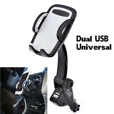 1Pcs Dual USB Car Charger Holder Mount With Cigarette Lighter Chargers For Phone