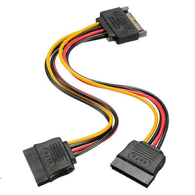 1* New 15 Pin Sata Male to 2 Sata Female Power Splitter Y Cable Durable Useful