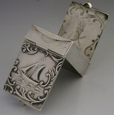 RARE BEAUTIFULLY MADE DUTCH SILVER DOUBLE STAMP BOX ANTIQUE c1920