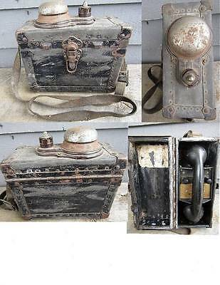 EARLY UNIQUE AUTOMATIC ELECTRIC TELEPHONE IN CASE w/ BELL ON TOP -- military ?