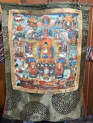 Antique 19C Tibetian  Hand Painted Thanka On Fabric ,buddhist Scene