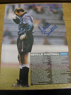 90-2000's Autographed Magazine Picture A4: Everton - Southall, Neville. We try a