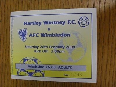 28/02/2004 Ticket: Hartley Wintney v AFC Wimbledon  . We try and inspect all our
