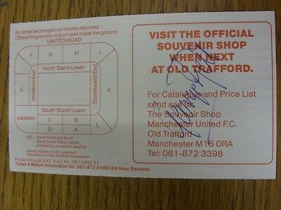 07/12/1991 Ticket: Manchester United v Coventry City [Hand Signed/Autographed To
