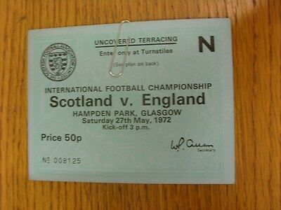 27/05/1972 Ticket: Scotland v England [At Hampden Park] . We try and inspect all