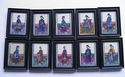 Collection 10 antique 19th century Chinese portrait paintings on pith rice paper