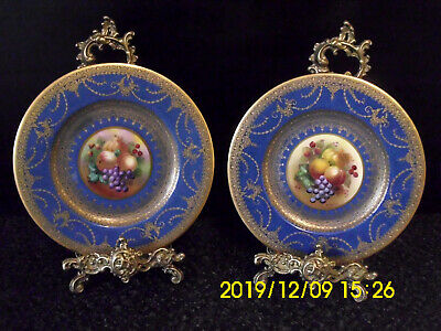 2 Handpainted George Jones Crescent China Still Life Fruit Cobalt Blue & Gold
