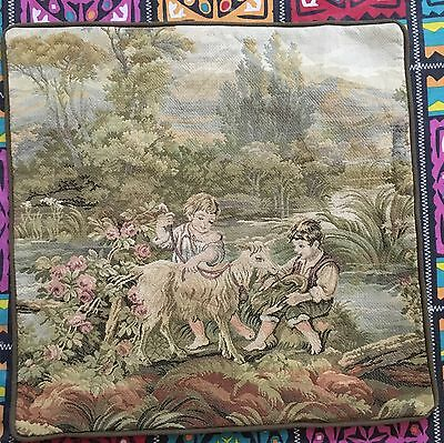 "Antique French Tapestry Cushion 18"" By 18"""