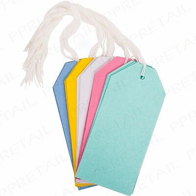 30x PASTEL COLOURED GIFT TAGS - Wedding Birthday String Label Luggage Price Tags