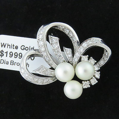 NYJEWEL 14k White Gold Fabulous 1ct Diamond Pearl Pin Brooch 30x25mm $1999