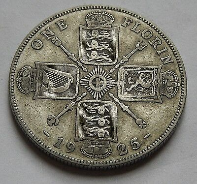 Florin George V 1925 SCARCE Date .500 Silver