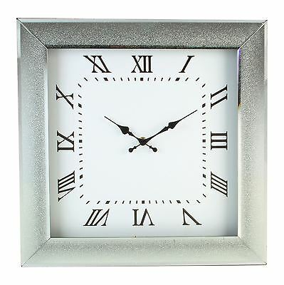 Silver Sparkle Glass Mirrored Square Wall Clock by Hestia Home Collection