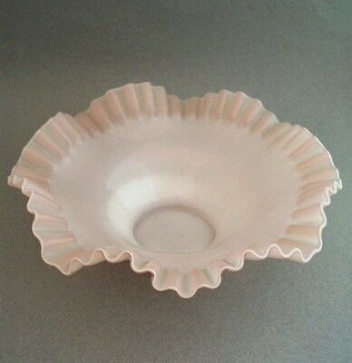 Dainty Victorian Glass Brides Basket Bowl Pink Opaque