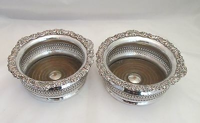 A Fine Pair of Large Silver Plated Wine Coasters - 19th Century